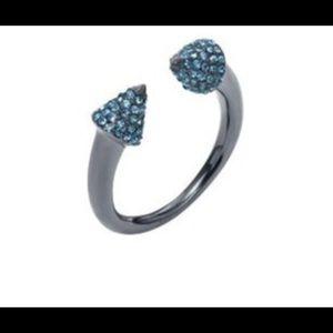 MK Arrow Open Ring Gunmetal Blue Crystal